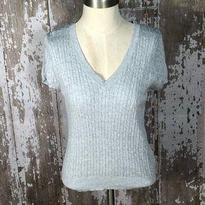Zara Gray V Neck Cotton Sweater Size Large